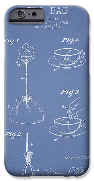 Cup Of Tea iPhone Cases - 1928 Tea Bag patent - Light Blue iPhone Case by Aged Pixel