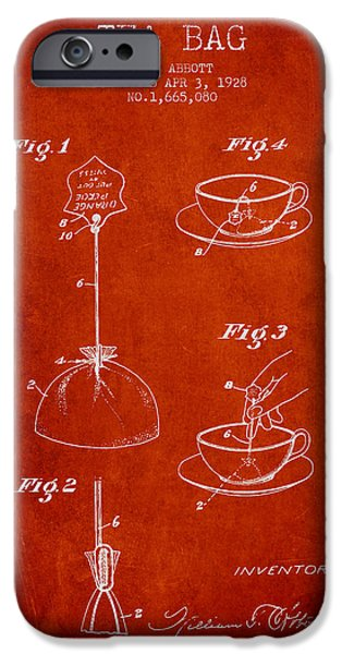 Cup Of Tea iPhone Cases - 1928 Tea Bag patent - red iPhone Case by Aged Pixel