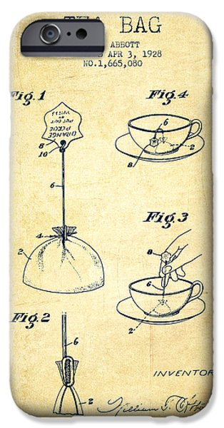 Cup Of Tea iPhone Cases - 1928 Tea Bag patent - Vintage iPhone Case by Aged Pixel