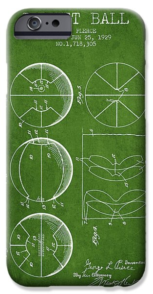 Nba iPhone Cases - 1929 Basket Ball Patent - Green iPhone Case by Aged Pixel