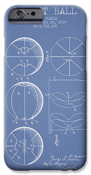 Basket Ball iPhone Cases - 1929 Basket Ball Patent - Light Blue iPhone Case by Aged Pixel