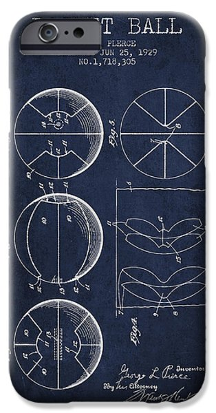 Wall Drawings iPhone Cases - 1929 Basket Ball Patent - Navy Blue iPhone Case by Aged Pixel