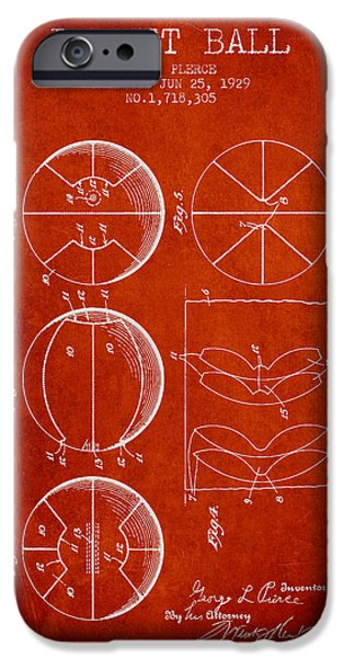 Basket Ball iPhone Cases - 1929 Basket Ball Patent - red iPhone Case by Aged Pixel