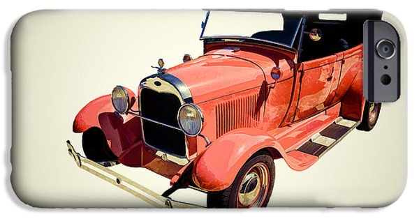 Car Paintings iPhone Cases - 1929 Ford Phaeton Antique Car in Red Color Painting 3498.02 iPhone Case by M K  Miller
