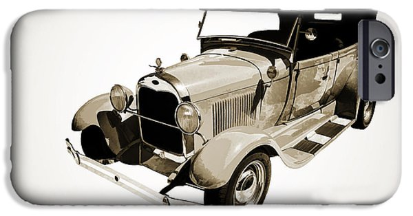 Car Paintings iPhone Cases - 1929 Ford Phaeton Antique Car in Red Sepia Painting 3498.01 iPhone Case by M K  Miller