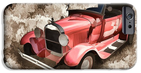 Car Paintings iPhone Cases - 1929 Ford Phaeton Antique Painting Classic Car Print 3498.03 iPhone Case by M K  Miller