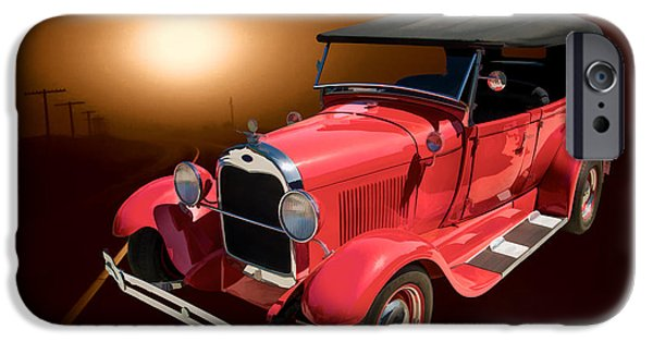 Car Paintings iPhone Cases - 1929 Ford Phaeton Classic Car in Moonlight Painting 3499.02 iPhone Case by M K  Miller