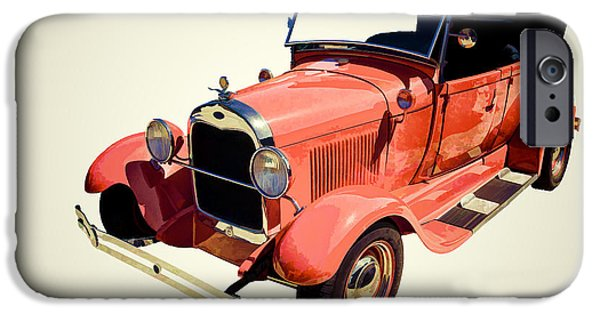 Car Paintings iPhone Cases - 1929 Ford Phaeton Classic Car in Red Painting 3498.04 iPhone Case by M K  Miller