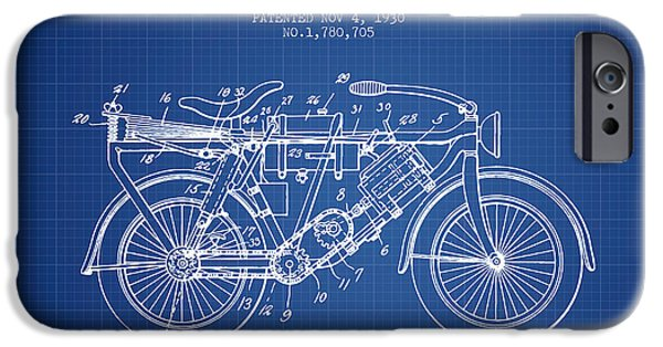 Biking Drawings iPhone Cases - 1930 Air Propelled Motorcycle Patent - Blueprint iPhone Case by Aged Pixel