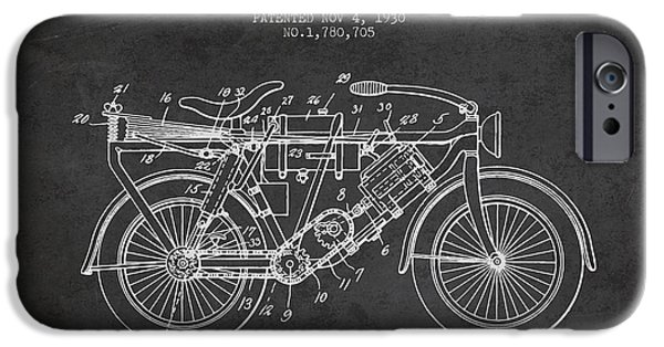 Biking Drawings iPhone Cases - 1930 Air Propelled Motorcycle Patent - Charcoal iPhone Case by Aged Pixel