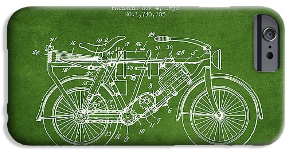 Biking Drawings iPhone Cases - 1930 Air Propelled Motorcycle Patent - Green iPhone Case by Aged Pixel