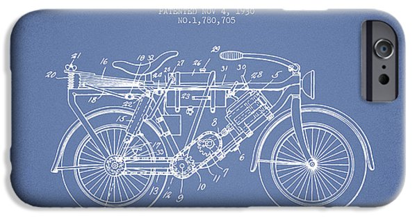 Biking Drawings iPhone Cases - 1930 Air Propelled Motorcycle Patent - Light Blue iPhone Case by Aged Pixel