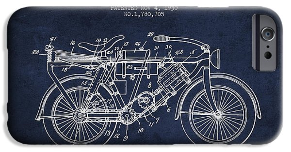 Biking Drawings iPhone Cases - 1930 Air Propelled Motorcycle Patent - Navy Blue iPhone Case by Aged Pixel