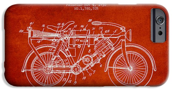 Biking Drawings iPhone Cases - 1930 Air Propelled Motorcycle Patent - Red iPhone Case by Aged Pixel