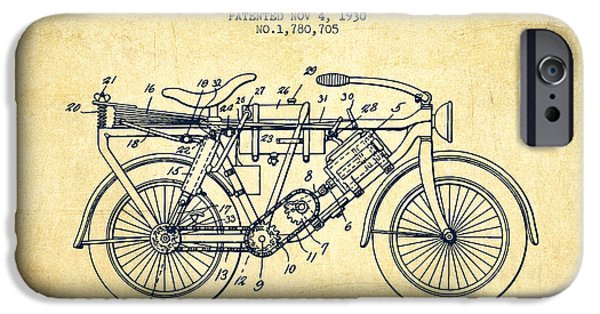 Biking Drawings iPhone Cases - 1930 Air Propelled Motorcycle Patent - Vintage iPhone Case by Aged Pixel