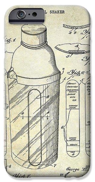 Stir iPhone Cases - 1930 Cocktail Shaker Patent iPhone Case by Jon Neidert