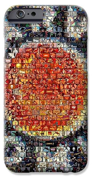 1930s Marvel Comics Mosaic iPhone Case by Paul Van Scott