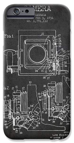 Detectives iPhone Cases - 1931 Camera Patent - Charcoal iPhone Case by Aged Pixel