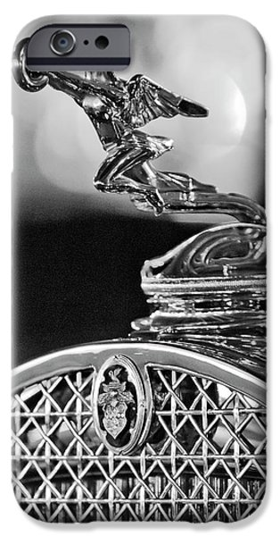 Hoodies iPhone Cases - 1931 Packard Convertible Victoria Hood Ornament 2 iPhone Case by Jill Reger
