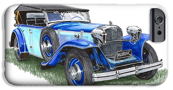 Weeping Drawings iPhone Cases - Classic 1931 Ruxton C Dual Cowl Phaeton iPhone Case by Jack Pumphrey