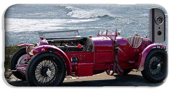 Circuit iPhone Cases - 1932 Alpha Romeo P3 Race Car Seashore iPhone Case by Dave Koontz