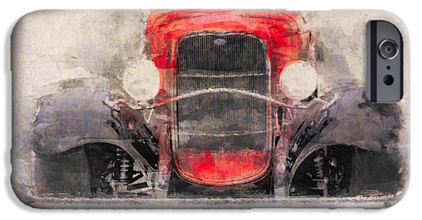Old Cars iPhone Cases - 1932 Ford Roadster Red And Black iPhone Case by Eduardo Tavares