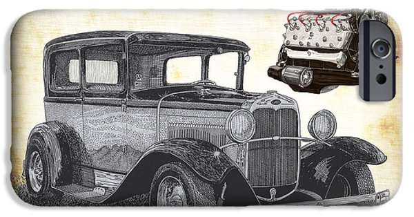 All American Drawings iPhone Cases - 1932 Ford Victoria iPhone Case by Jack Pumphrey