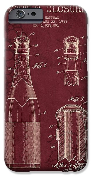 Red Wine iPhone Cases - 1933 Bottle Closure patent - Red Wine iPhone Case by Aged Pixel