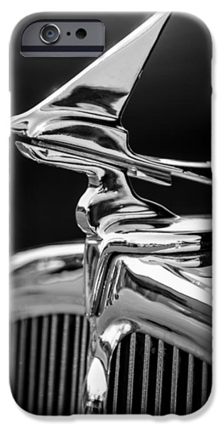 Franklin iPhone Cases - 1933 Franklin Olympic Hood Ornament -030bw iPhone Case by Jill Reger