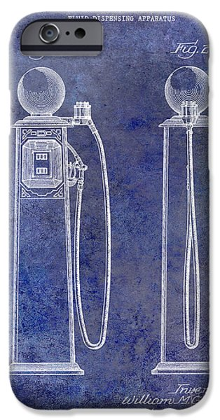 Griffin iPhone Cases - 1933 Gas Pump Patent Blue iPhone Case by Jon Neidert