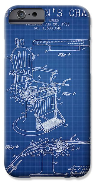 Medical Drawings iPhone Cases - 1933 Physicians chair patent - Blueprint iPhone Case by Aged Pixel