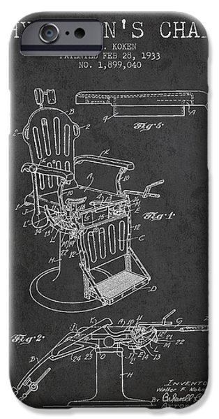 Medical Drawings iPhone Cases - 1933 Physicians chair patent - Charcoal iPhone Case by Aged Pixel