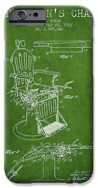 Medical Drawings iPhone Cases - 1933 Physicians chair patent - Green iPhone Case by Aged Pixel
