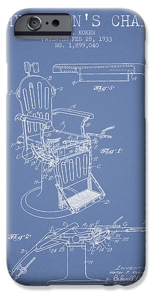 Medical Drawings iPhone Cases - 1933 Physicians chair patent - Light Blue iPhone Case by Aged Pixel