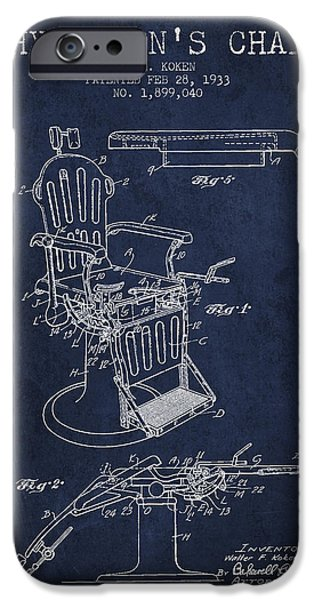 Medical Drawings iPhone Cases - 1933 Physicians chair patent - Navy Blue iPhone Case by Aged Pixel