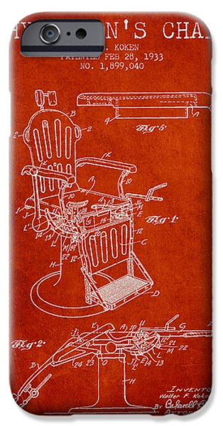 Medical Drawings iPhone Cases - 1933 Physicians chair patent - Red iPhone Case by Aged Pixel