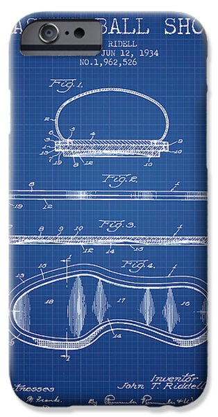 Basket Ball iPhone Cases - 1934 Basket Ball Shoe Patent - blueprint iPhone Case by Aged Pixel