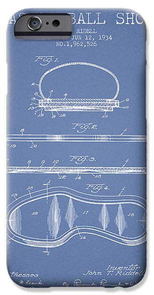Basket Ball iPhone Cases - 1934 Basket Ball Shoe Patent - Light Blue iPhone Case by Aged Pixel