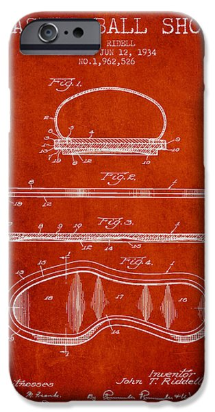 Basket Ball iPhone Cases - 1934 Basket Ball Shoe Patent - red iPhone Case by Aged Pixel