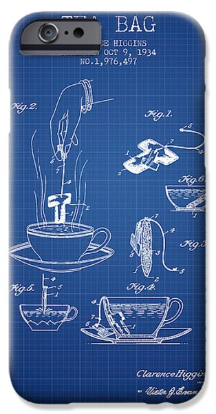 Cup Of Tea iPhone Cases - 1934 Tea Bag patent - blueprint iPhone Case by Aged Pixel