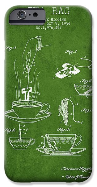 Cup Of Tea iPhone Cases - 1934 Tea Bag patent - green iPhone Case by Aged Pixel
