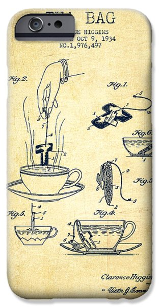 Cup Of Tea iPhone Cases - 1934 Tea Bag patent - vintage iPhone Case by Aged Pixel