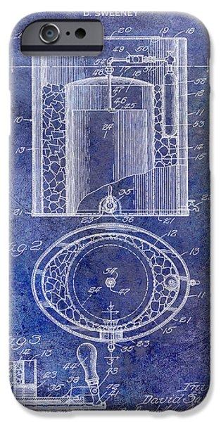Stein iPhone Cases - 1935 Beer Equipment Patent Blue iPhone Case by Jon Neidert