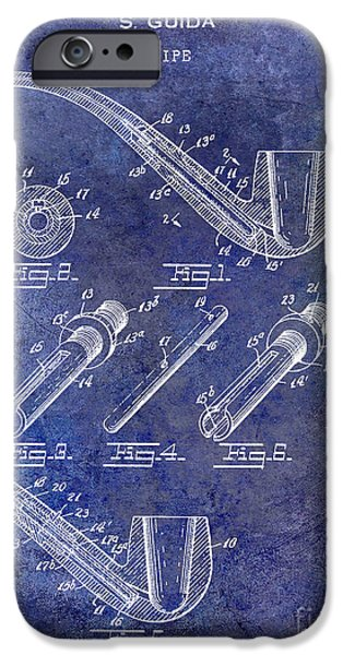 Pipe iPhone Cases - 1935 Pipe Patent Blue iPhone Case by Jon Neidert