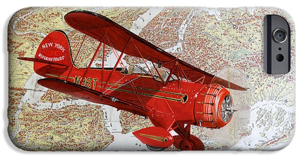 Experience Paintings iPhone Cases - 1935 Sightseeing Waco Bi Plane  iPhone Case by Jack Pumphrey