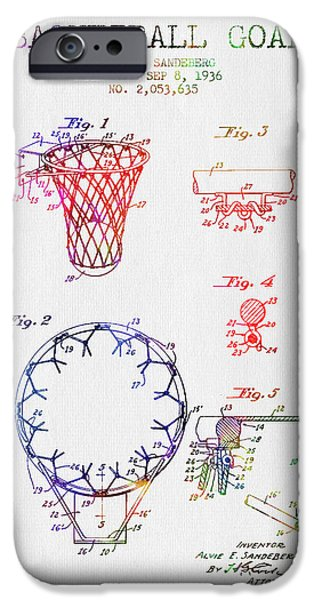 Dunk iPhone Cases - 1936 Basketball Goal patent - color iPhone Case by Aged Pixel