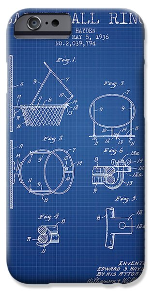 Nba iPhone Cases - 1936 Basketball Ring Patent - blueprint iPhone Case by Aged Pixel