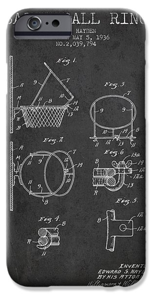 Slam iPhone Cases - 1936 Basketball Ring Patent - charcoal iPhone Case by Aged Pixel