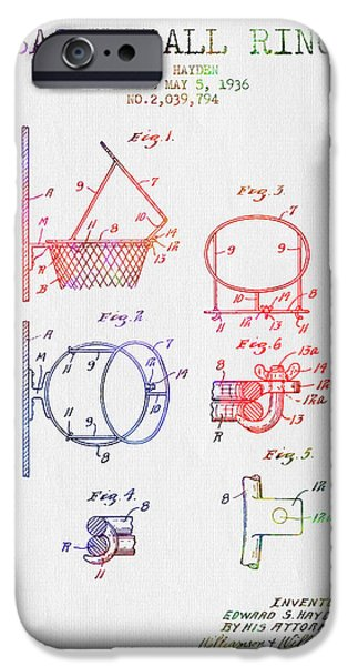 Slam iPhone Cases - 1936 Basketball Ring Patent - color iPhone Case by Aged Pixel