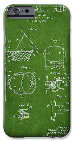 Nba iPhone Cases - 1936 Basketball Ring Patent - green iPhone Case by Aged Pixel
